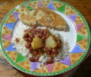 Frijoles Colorados, White Rice and Pollo Grillé