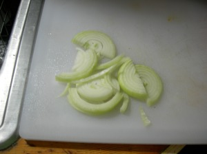 Sliced onions in half