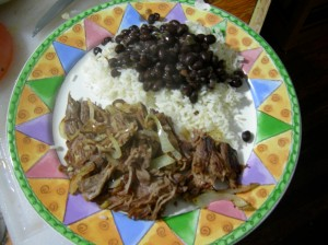 Vaca Frita, white rice and black beans!